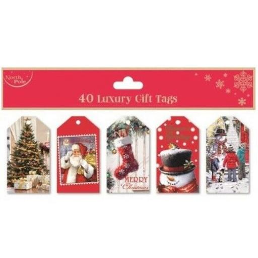 North Pole Traditional Gift Tags - Pack of 40