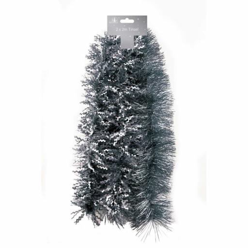 Tallon Luxury Tinsel Shiny Fine Cut & Matt Zig Zag 2M, Pack of 2 - Dark Grey