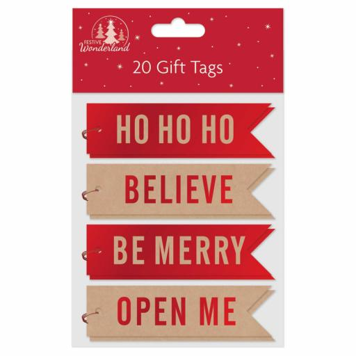 Tallon Flag Shape Gift Tags, Red Kraft - Pack of 20