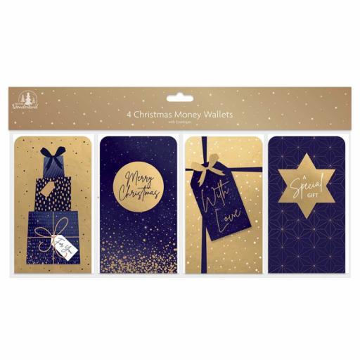 Tallon Festive Wonderland Navy & Gold Christmas Money Wallets - Pack of 4
