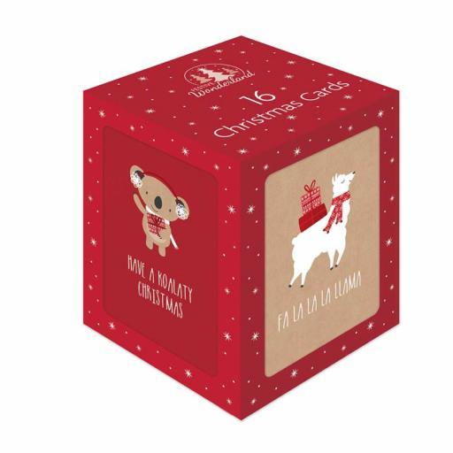 Tallon Mini Christmas Cards, Cute Kraft Designs - Box of 16