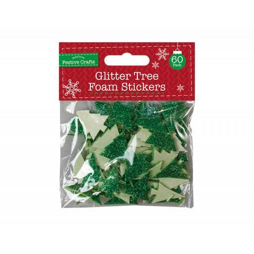 Gem Glitter Tree Foam Stickers - Pack of 60